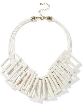 Kenneth Jay Lane Gold-Tone Cord And Wood Necklace