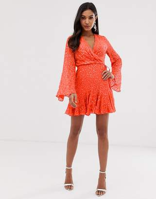 a50de1b0 Asos Design DESIGN mini skater dress with long sleeve in all over scatter  sequin