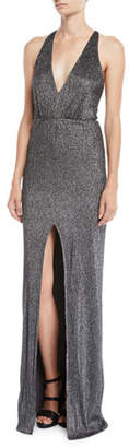 Halston Metallic Knit Halter Gown w/ Strappy Back