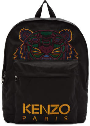 Kenzo Black XL Canvas Tiger Backpack