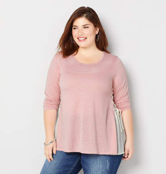 Avenue Striped Lace Up French Terry Top