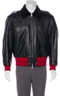 Calvin Klein Fur-Trimmed Leather Jacket w/ Tags