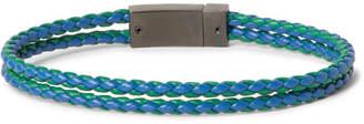Prada Woven Leather And Gunmetal-Tone Bracelet