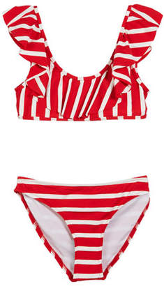 Milly Minis Striped Ruffle Pinafore Two-Piece Swimsuit, Size 7-16