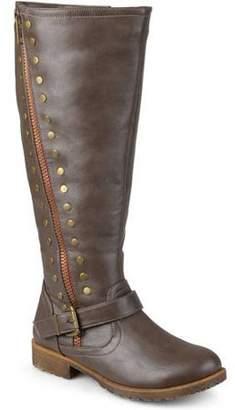 Brinley Co. Womens Wide Calf Zipper Studded Riding Boots