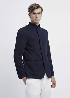 Emporio Armani Jacket In 3D Jersey Jacquard With Zip And Mandarin Collar