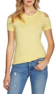 1 STATE Short-Sleeve Cold-Shoulder Linen Top