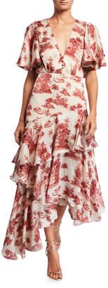 Johanna Ortiz Palm Toile Georgette V-Neck Ruffled Dress