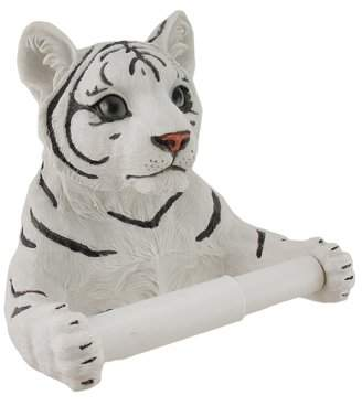 Zeckos White Tiger Sculptured Bath Tissue Holder