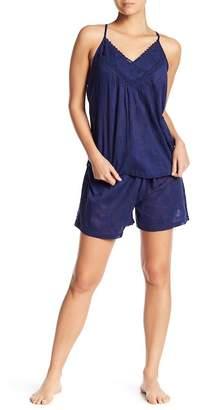 Tahari Crochet Trim Racerback & Shorts Pajama 2-Piece Set