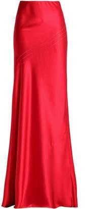 Amanda Wakeley Open Knit-Trimmed Fluted Silk-Satin Maxi Skirt
