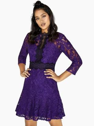 Little Mistress Lace Shift Dress - Purple