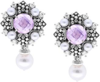 Judith Ripka Sterling Rose Quartz & FreshwaterPearl Earrings