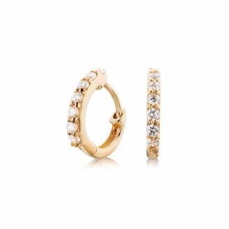 Lily & Roo Small Solid Gold Diamond Huggie Hoop Earrings