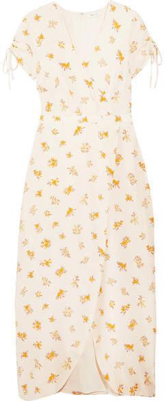 Madewell - Wrap-effect Floral-print Silk Crepe De Chine Dress - White