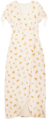 Madewell Wrap-effect Floral-print Silk Crepe De Chine Dress - White
