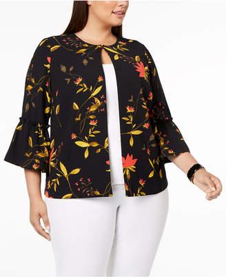 Alfani Plus Size Printed Bell-Sleeve Jacket