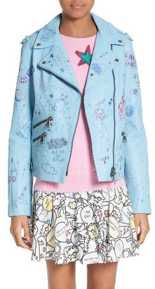 Women's Mira Mikati Hand Painted Doodle Leather Jacket $1,680 thestylecure.com