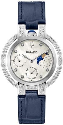 Bulova Women Rubaiyat Blue Leather Strap Watch 35mm