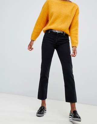Monki mid waist Mokonoki straight leg jeans in black