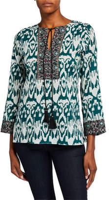 Bella Tu Ikat Tassel-Tie Cotton Tunic