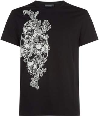 crow and skull T-shirt - Black Alexander McQueen Sale Official Site 0s0Ab
