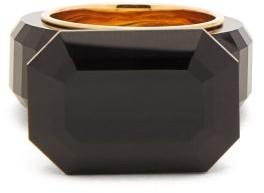 Bottega Veneta Faceted Onyx Gold Plated Ring - Womens - Black