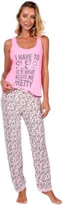 Body Candy Loungewear Women's Lightweight Silky Soft Tank Top and Pajama Set (Pink ,)
