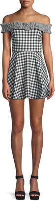 Lovers And Friends Lorrie Off-Shoulder Gingham Ruffle Mini Dress