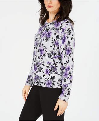 Karen Scott Flower-Print Jersey Cardigan Sweater, Created for Macy's