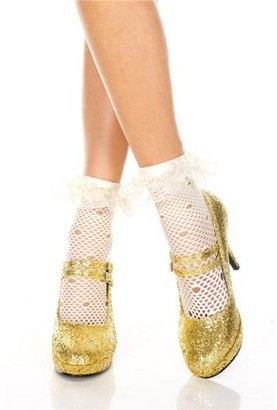 Music Legs Net pattern anklet with ruffle trim 517-WHITE