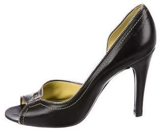 Marc Jacobs Leather Peep-Toe Pumps