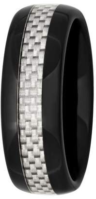 Generic Men's Black and White Ceramic with Carbon Fiber 8MM Wedding Band - Mens Ring