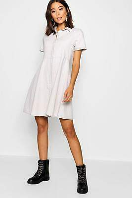boohoo NEW Womens Stud Button Denim Skater Dress in Cotton