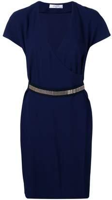 Lanvin chain-trimmed wrap dress