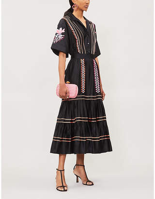 Temperley London Cher embroidered tiered cotton midi dress