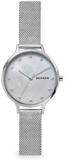 Skagen Anita Mother-of-Pearl Silvertone Steel-Mesh Watch