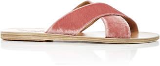 Ancient Greek Sandals Thais Velvet Sandals $260 thestylecure.com
