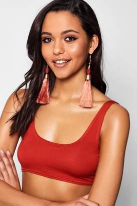boohoo Metallic Statement Tassel Earrings