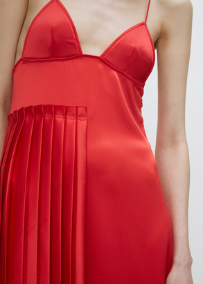 Off-White red pleated panel slipdress $1,109 thestylecure.com