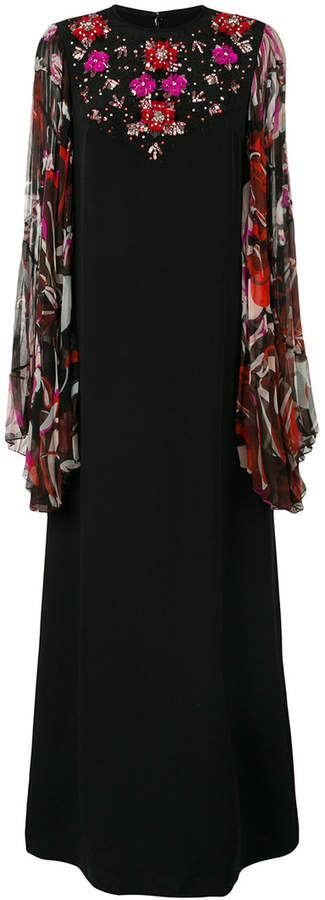 Emilio Pucci floral embroidered maxi dress