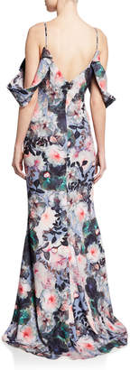 Badgley Mischka Tie-Sleeve Floral-Print Long Gown