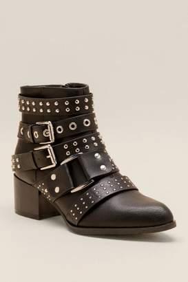 Fergalicious Isolation Buckle Studded Ankle Boot - Black