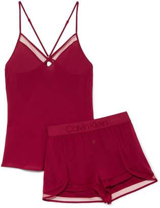 Calvin Klein Underwear Mesh-trimmed Satin Pajama Set - Crimson