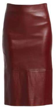 The Row Jaston Leather Pencil Skirt