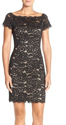Women's Adrianna Papell Off The Shoulder Lace Sheath Dress $160 thestylecure.com