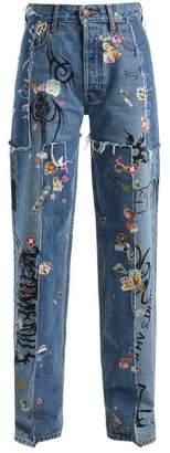 Vetements Sticker Mid Rise Straight Leg Jeans - Womens - Light Blue