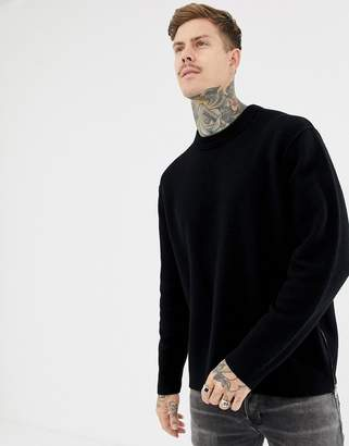 AllSaints 100% Merino Sweater In Black With Side Zips