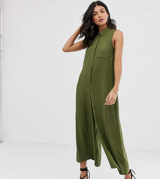 Asos Tall DESIGN Tall casual culotte shirt jumpsuit