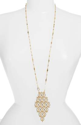 Badgley Mischka Collection Diamond Shaped Long Pendant Necklace